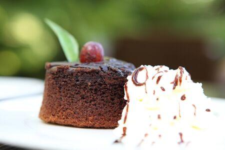 chocolate cake on wood background photo