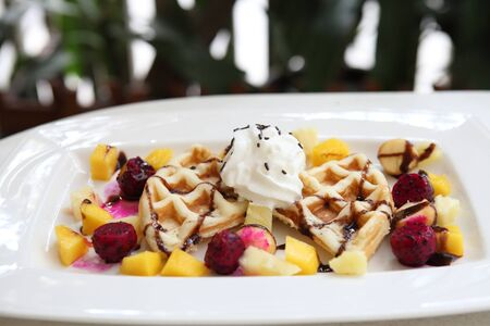 Waffle with fruits photo