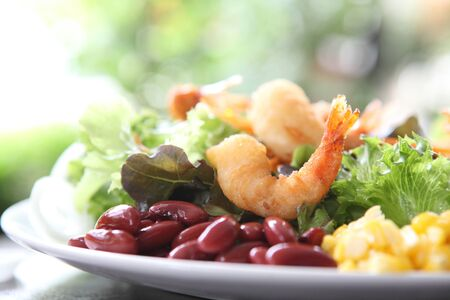 salad with fried shrimp photo