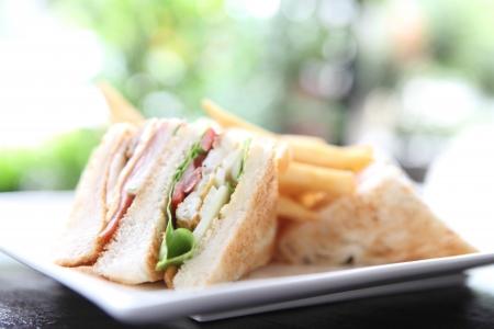 sandwich de pollo: Club s�ndwich Foto de archivo