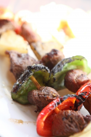 shishkabab: beef kababs on the grill closeup Stock Photo