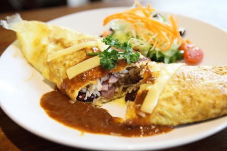 omelette rice,omurice, japanese food  photo
