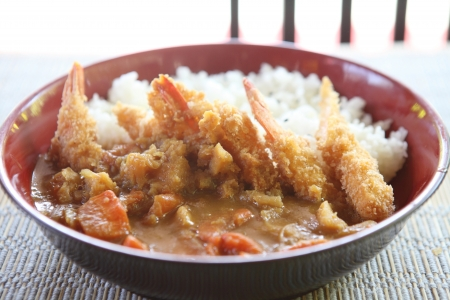 Curry rice with fried shrimp photo