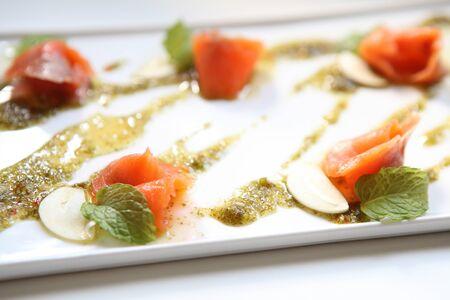carpaccio: salmon carpaccio Stock Photo