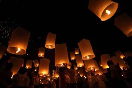CHIANGMAI, THAILAND - OCTOBER 24   Thai people floating lantern  October 24 ,2012  in Maejo, Chiangmai, Thailand