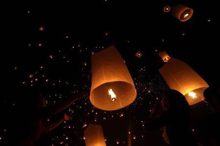 CHIANGMAI, THAILAND - OCTOBER 24   Thai people floating lantern  October 24 ,2012  in Maejo, Chiangmai, Thailand   Stock Photo - 16680080
