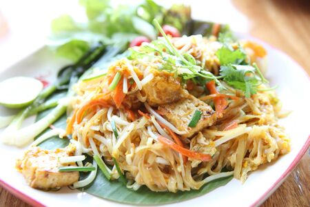 Thai food padthai fried noodle with shrimp Stock Photo - 17201526