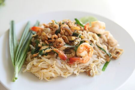 Thai food padthai fried noodle with shrimp photo