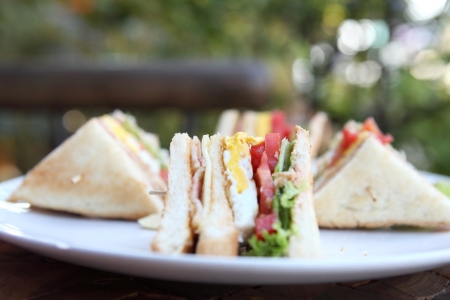 Club sandwich with on wood background photo