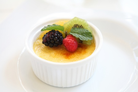 brulee: Creme brulee. Traditional French vanilla cream dessert with fruit