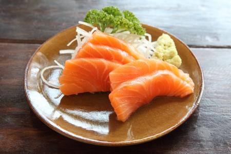 sushi plate: Salmon sashimi Stock Photo