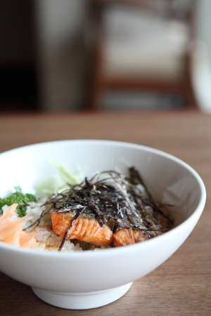 salmon teriyaki on rice photo