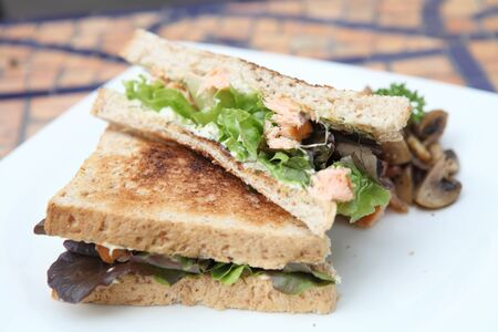 sandwiches with salmon  photo