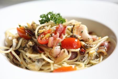 Spaghetti met bacon en mossel
