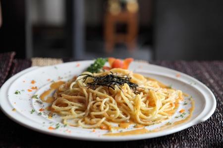 Japanese pasta Mentaiko spaghetti photo