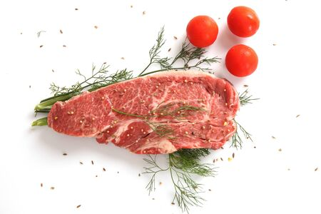 beef steak in white background photo