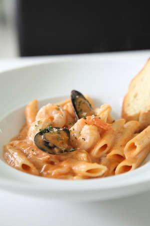 Spaghetti Penne with seafood Foto de archivo