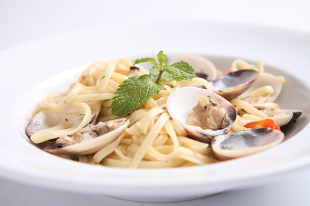 spaghetti with clam Stock Photo