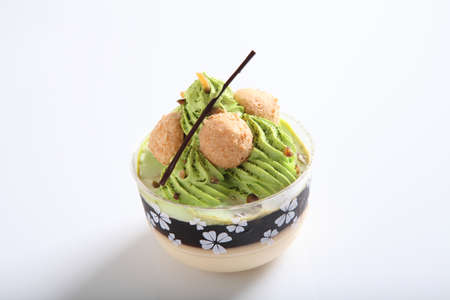 Green tea pudding photo