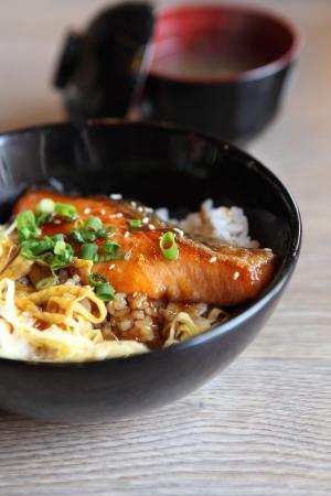 salmon teriyaki on rice photo
