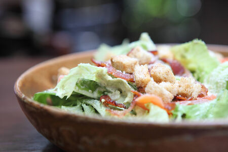 caesar salad: Caesar salad in close up