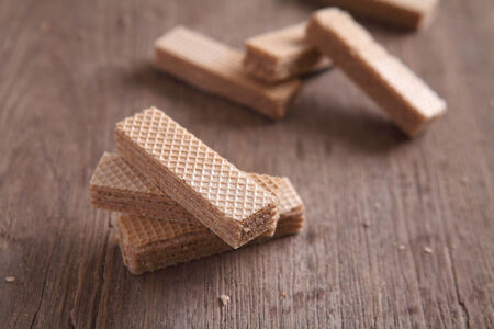 wafers on wood background photo
