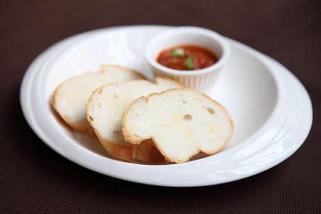 Bread with tomato sauce photo
