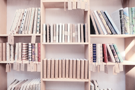 wood shelf with book photo