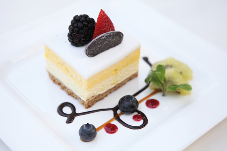 cheese cake: mango mousse cheese cake Stock Photo