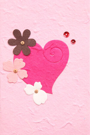 mulberry paper with heart and flower photo