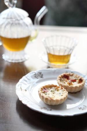 Mini fruit tart and tea photo