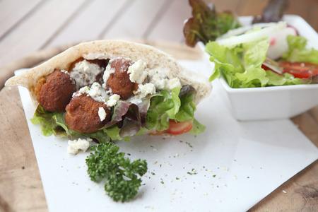 falafel: Falafel in a Pita Stock Photo