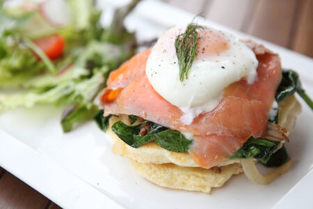 Gourmet smoked salmon with pancake photo