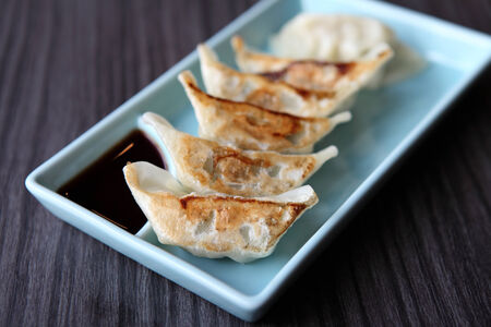 gyoza: gyoza served on plate  Stock Photo