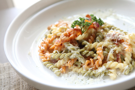 Fusilli spaghetti carbonara photo