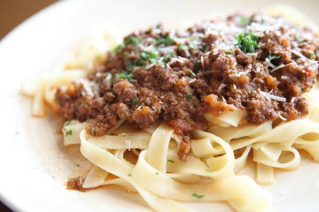 Spaghetti fettucine bolognese photo