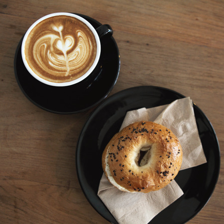 bagel with coffee photo