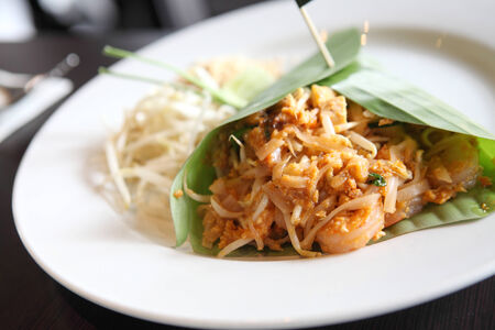 quick snack: Thai food padthai fried noodle with shrimp Stock Photo