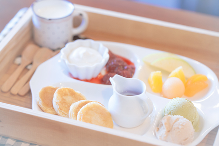 Pancake with icecream and fruit photo