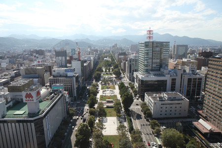 Cityscape of Downtown Sapporo , Japan photo