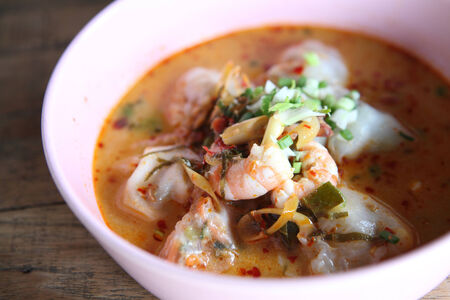 Thai food Tom yum noodle in Thai style photo