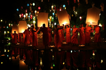 CHIANGMAI THAILAND - NOVEMBER 12 : Loy Krathong festival, celebrate the Loy Krathong festival on November 12 , 2014 in Chiangmai, Thailand