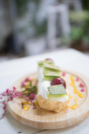 choux: Choux cream with fruit Stock Photo