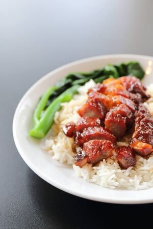 rice roasted red pork photo