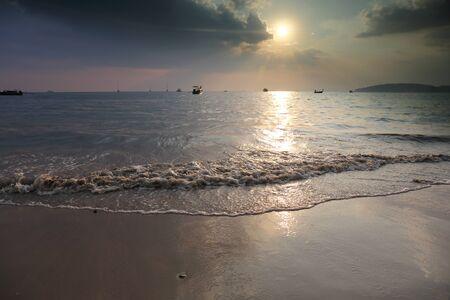 Tropical sunset on the beach. Krabi. Thailand photo