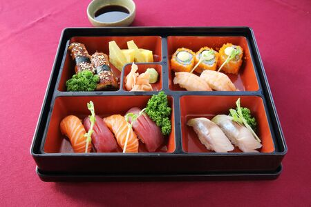 bento: Japanese Bento sushi and soba Stock Photo