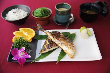 flesh eating animal: Grill Mackarel fish japanese food
