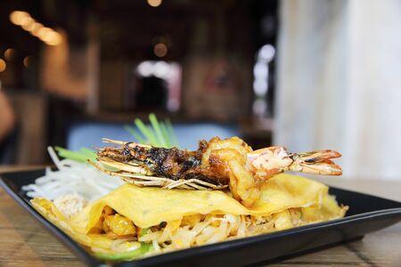 serving food: Thai food padthai fried noodle with shrimp Stock Photo