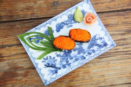 ebiko sushi isolated in white background photo