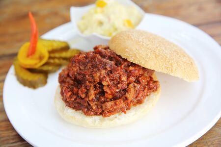 pork rib: bbq costola di maiale hamburger Archivio Fotografico